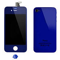 Дисплей iPhone 4   Blue + back cover and menu button