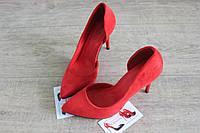 Красные туфли женские с вырезом