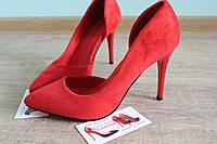Лодочки туфли каблук красный лак
