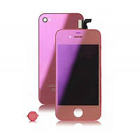 Дисплей iPhone 4S   Pink + back cover and menu button