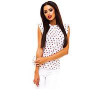 Жіноча літнє біла блузка в сердечка