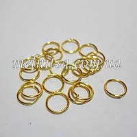 Соединительные бижутерные кольца, 0,7х7мм, 30шт., золото