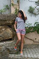 Женский спорт костюм шорты + футболка
