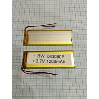 Аккумулятор универсальный 403080P   7,7cm х 3,2cm   3,7v   1400mAh