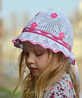 Цветы №2 - летняя х/б панамка, вязаная, ажурная. р. 50-54 (3-8 лет) Белый+св.роз, т.розовый, розов, бел+т.роз, фото 1