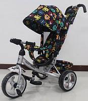 Детский трехколесный велосипед Tilly Trike (T-344-4 СЕРЫЙ) с козырьком