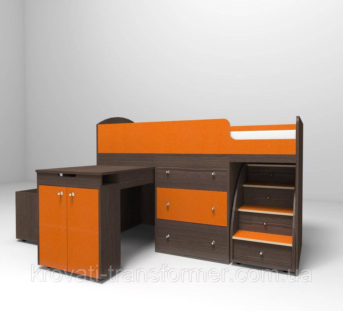 Детская кровать чердак Старое дерево +оранж с ящиком для игрушек
