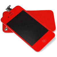 Дисплей iPhone 4   Red + back cover and menu button