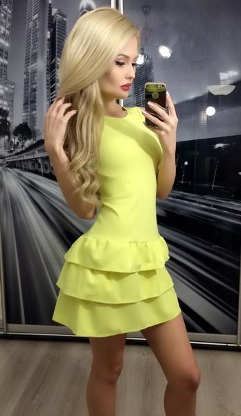 Желтое мини платье