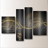 """Модульная картина """"Золотая волна"""" (880х1210 мм) [4 модуля]"""