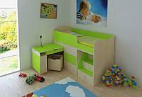 """Детская кровать чердак """"Школьник""""  Клен ванкувер + Лайм  с ящиком для игрушек"""