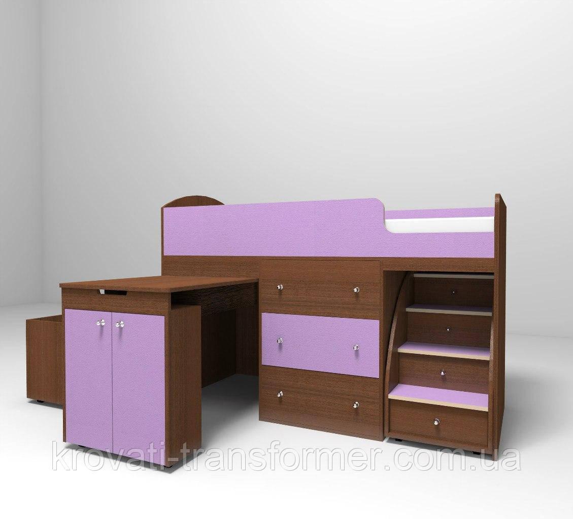 """Детская кровать чердак """"Школьник"""" Орех лесной + Лаванда с ящиком для игрушек"""