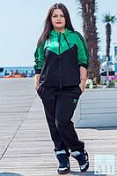 Женский спортивный костюм Адидас   батал Куртка, Вшитый, Женский, 52, Весна/осень, Украина, черный+зеленый