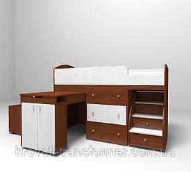 """Детская кровать чердак """"Школьник""""  Орех лесной + Белый текстура с ящиком для игрушек"""