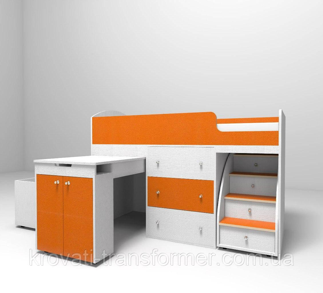 """Детская кровать чердак """"Школьник""""  Белый текстура + оранж с ящиком для игрушек"""