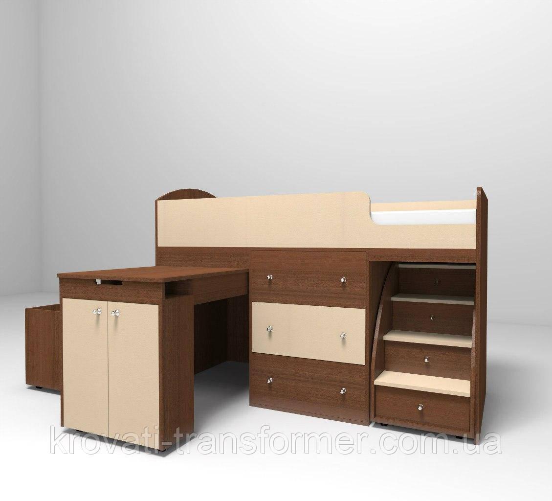 """Детская кровать чердак """"Школьник""""  Лесной орех + Бежевый с ящиком для игрушек"""