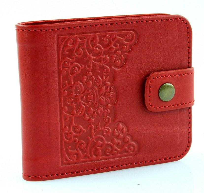Стильный красный кожаный женский кошелек, натуральная кожа