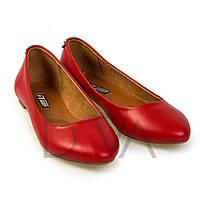 Красные балетки женские кожаные 5012-7red обувь, туфли и балетки недорого