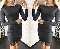 Красивое трикотажное платье с французским кружевом