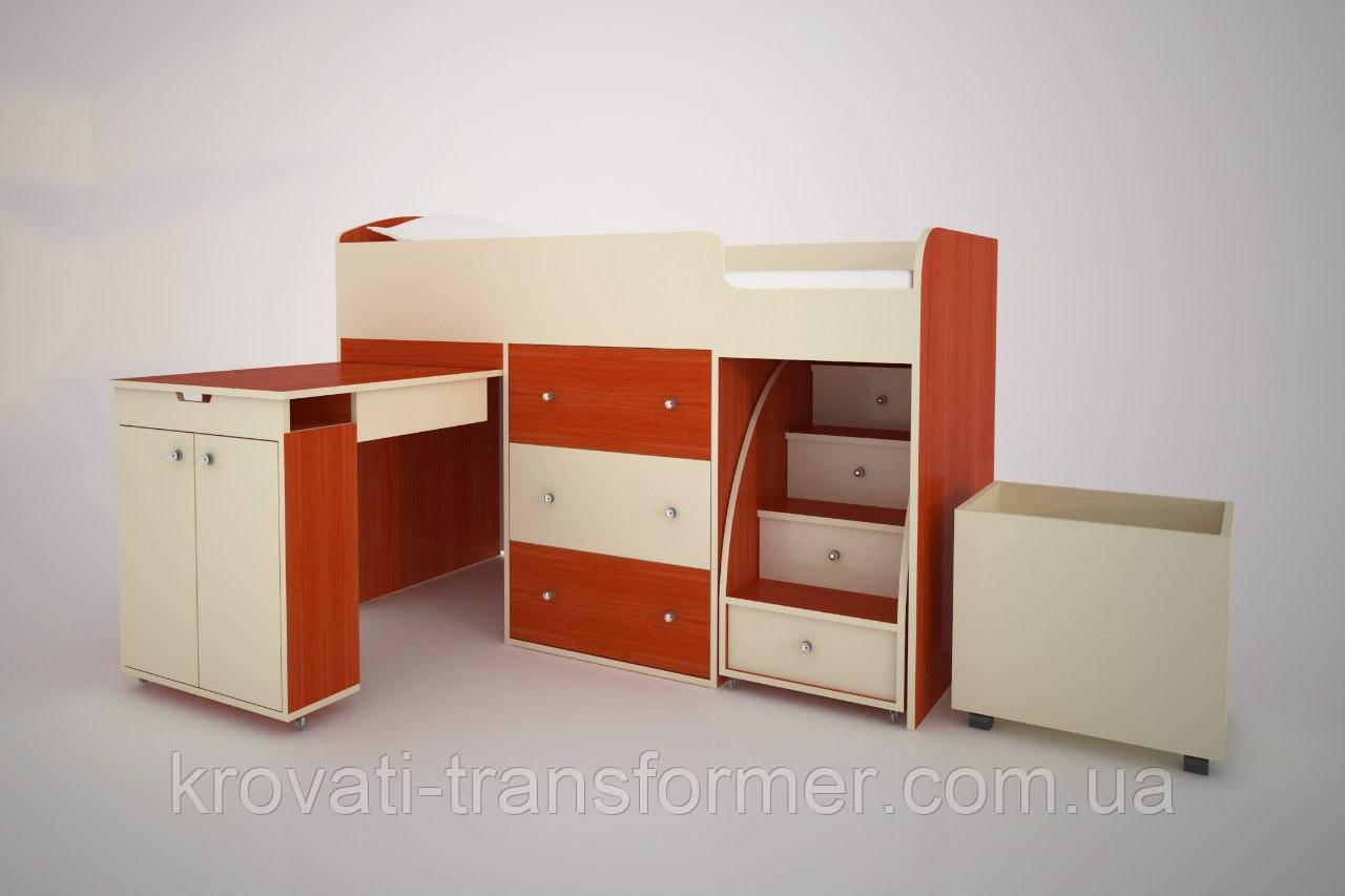 """Детская кровать чердак """"Школьник""""  Вишня + Ваниль с ящиком для игрушек"""