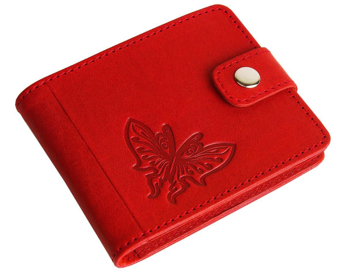 Шкіряний жіночий гаманець, Червона метелик