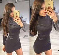 Модель платья выполнена из мягкого, приятного на ощупь, эластичного велюра.