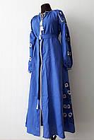 """Длинное платье вышиванка """"цветы"""" синее, вышивка черно-белая"""