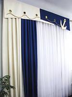 """Готовые наборы штор для окон - Комплект детский """"Якорь"""" 3 м"""