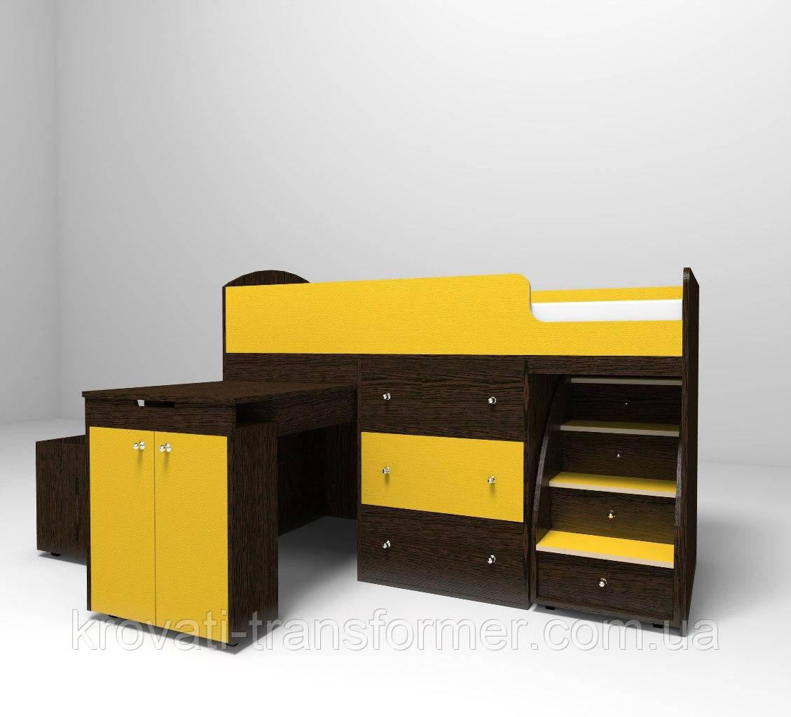 """Дитяче ліжко горище """"Школяр"""" Венге темний + жовтий з ящиком для іграшок"""