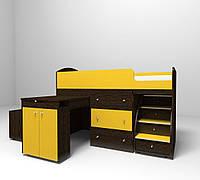 """Детская кровать чердак """"Школьник""""  Венге темный + желтый с ящиком для игрушек"""
