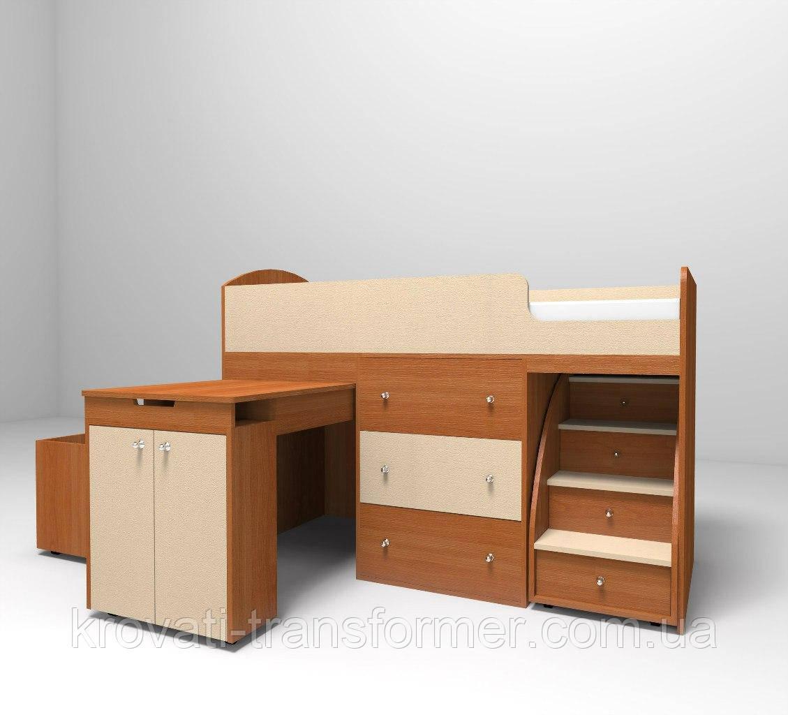 """Детская кровать чердак """"Школьник""""  Бук + крем с ящиком для игрушек"""