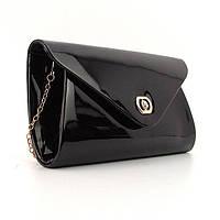 Лаковая сумочка-клатч черная вечерняя на цепи