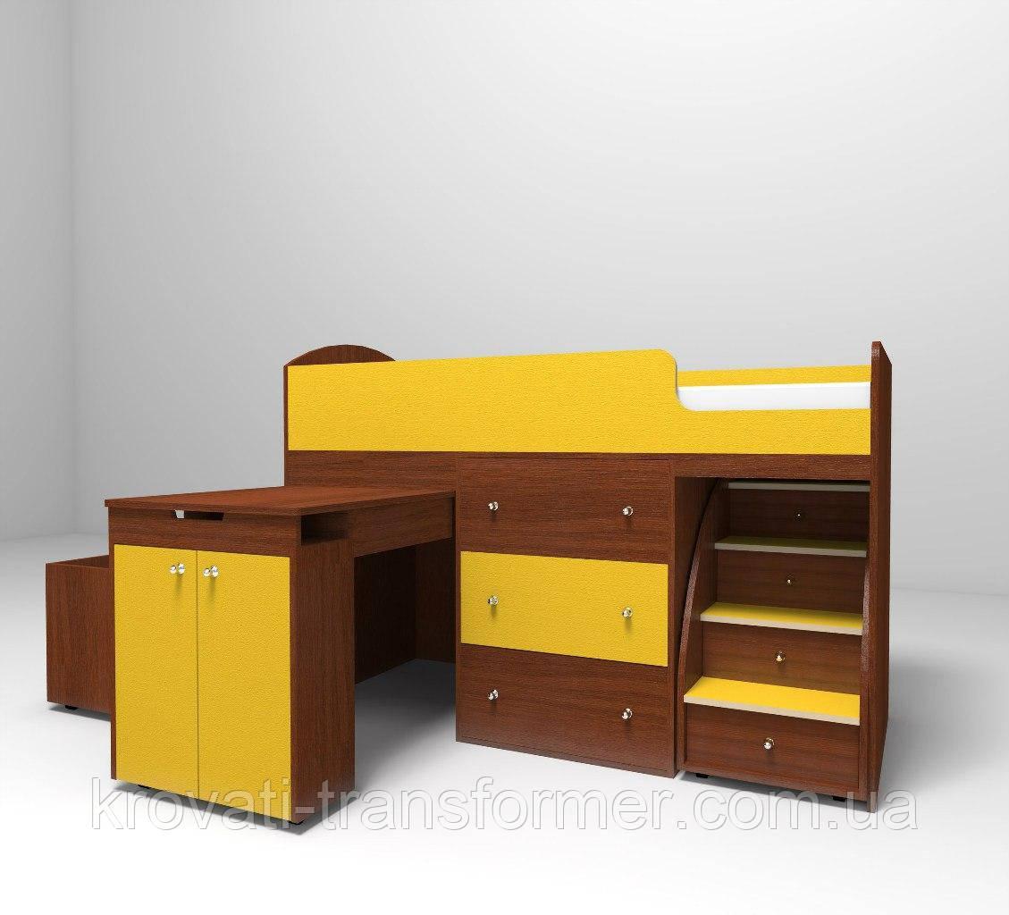 """Детская кровать чердак """"Школьник""""  Орех экко + Желтый с ящиком для игрушек"""