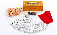 Настольная игра русское лото 9505 в деревянном футляре (коробке): 90 бочонков + 24 карточки