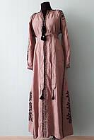 """Длинное платье вышиванка """"розы"""" пепельно-розовое, вышивка черная"""