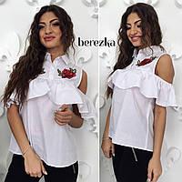 Блузка модная с вышивкой и воланом хлопок Rs71