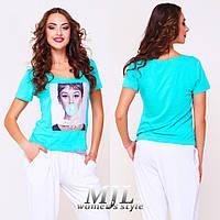 Стильная женская футболка Клариса мята
