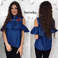 Блузка модная с вышивкой и воланом джинс Rs70