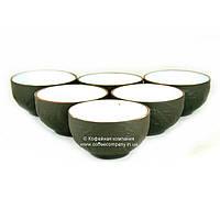 Пиала чайная исинская глина/фарфор с декором 6х35мл 9276