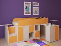 """Кровать чердак """" Геометрия"""" Молочный дуб + оранжевый"""