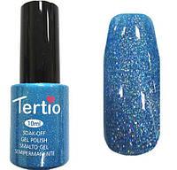 Гель лак Tertio 073 (10 мл) небесно-голубой с большим количеством микроблесток, плотный.
