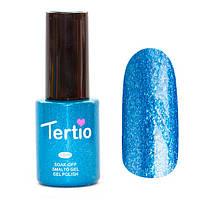 Гель лак Tertio 076 (10 мл) голубой с большим количеством микроблесток, плотный.
