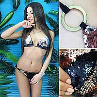 Женский купальник треугольник из пайетки хамелеон \ бронза-черный, фото 1