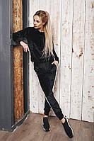 Женский черный велюровый спорт костюм кенгуру
