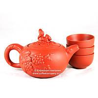 Чайник китайский заварочный исинская глина 150мл+3 пиалы 9283