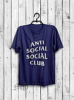 Стильная мужская футболка Anti Social Social Club темно-синяя