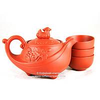 Чайник китайский заварочный исинская глина 160мл+3 пиалы 9284