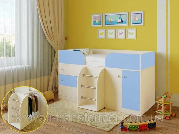 """Детская кровать чердак """"Карлсон"""" Молочный дуб+Голубой"""