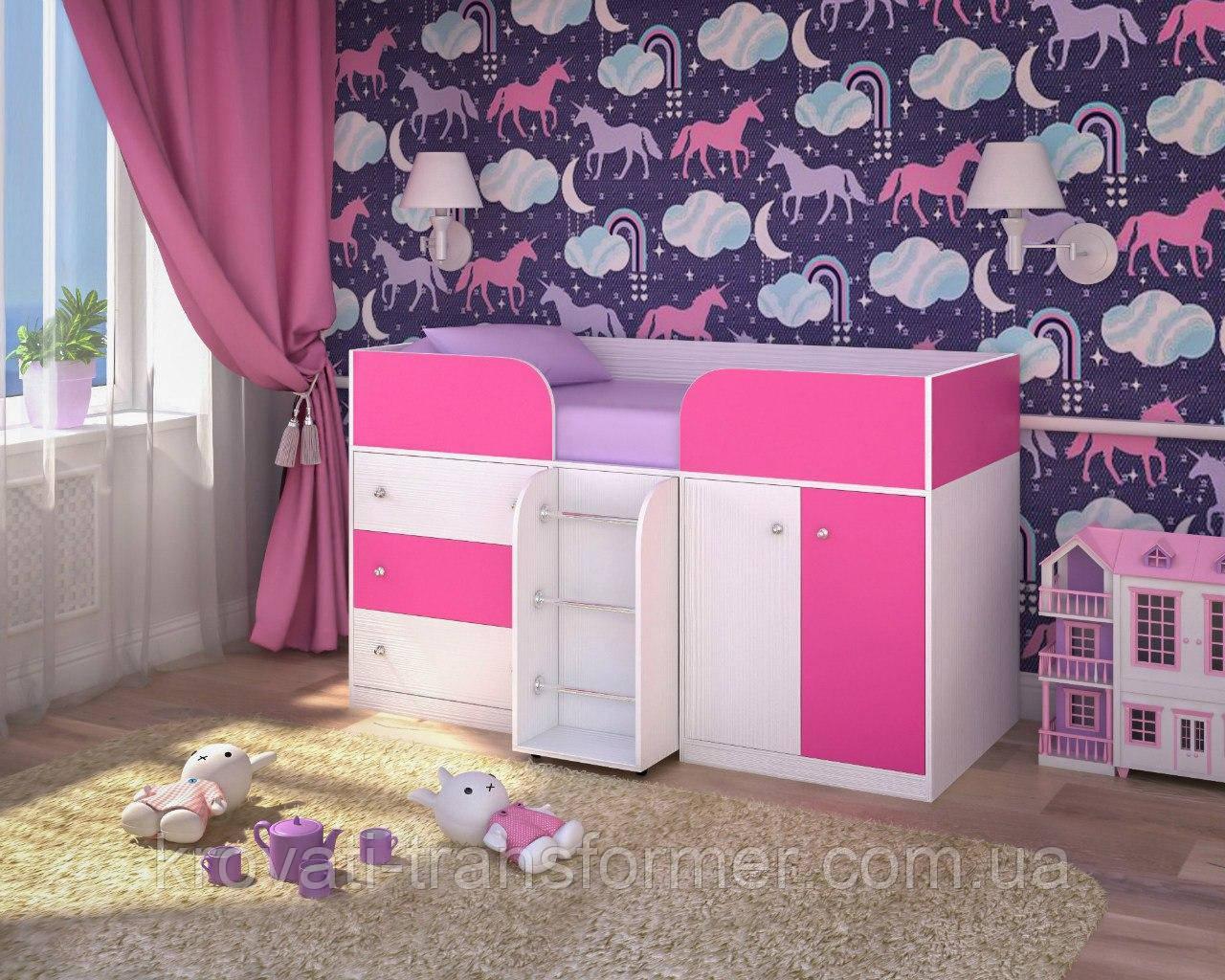"""Детская кровать чердак """"Карлсон"""" Молочный дуб+Розовый"""