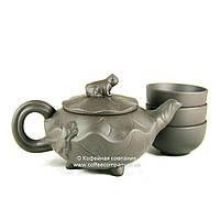 Чайник китайский заварочный исинская глина 150мл+3 пиалы 9285